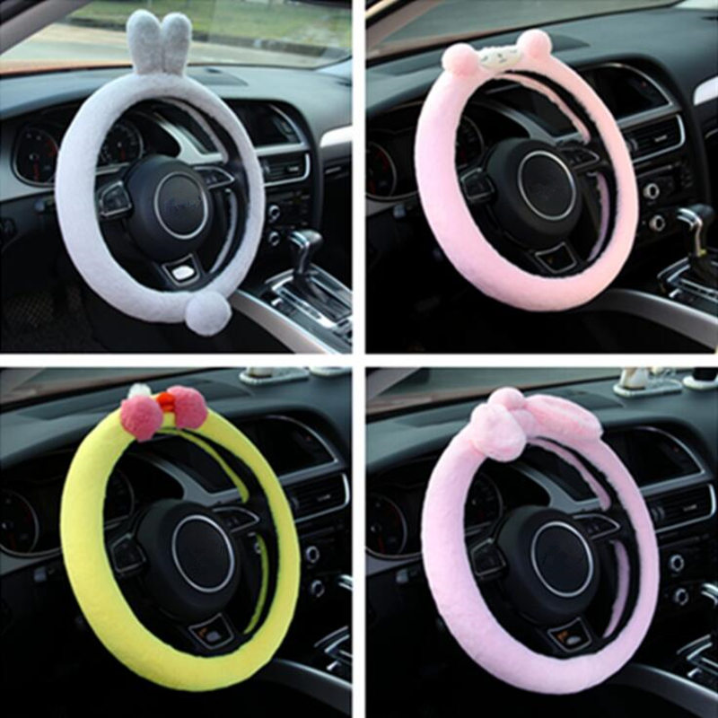 Animal <font><b>Car</b></font> Steering <font><b>Wheel</b></font> <font><b>Cover</b></font> Cute Cartoon Winter Plush Rabbit Sheep <font><b>Women</b></font> Girl <font><b>Car</b></font> Interior Accessories Styling Decorations image