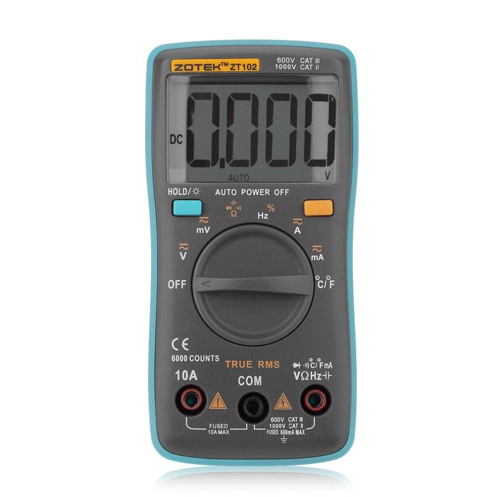 ZT102 Auto Multimètre Numérique 6000 Points Rétro-Éclairage AC/DC Ampèremètre Voltmètre Basse Tension Température Indication Portable