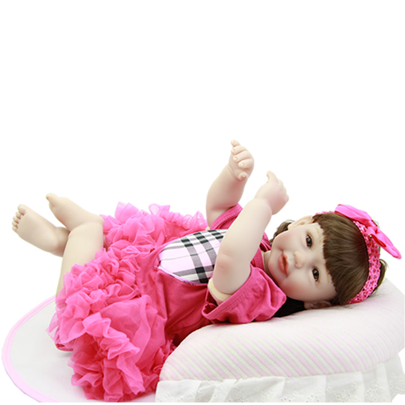 Collectible 20 Inch Reborn Girl Dolls Silicone Vinyl Cloth Body Newborn Princess Babies Lifelike Baby Toy Kids Playmate