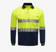 Safety Work polo shirt reflective High Visibility Long Sleeve Polo workwear Shirt