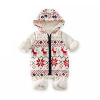 Winter Warm Fleece Baby Romper 6 24M Chirstmas Snow Pattern Baby Boy Girl Clothes Zipper