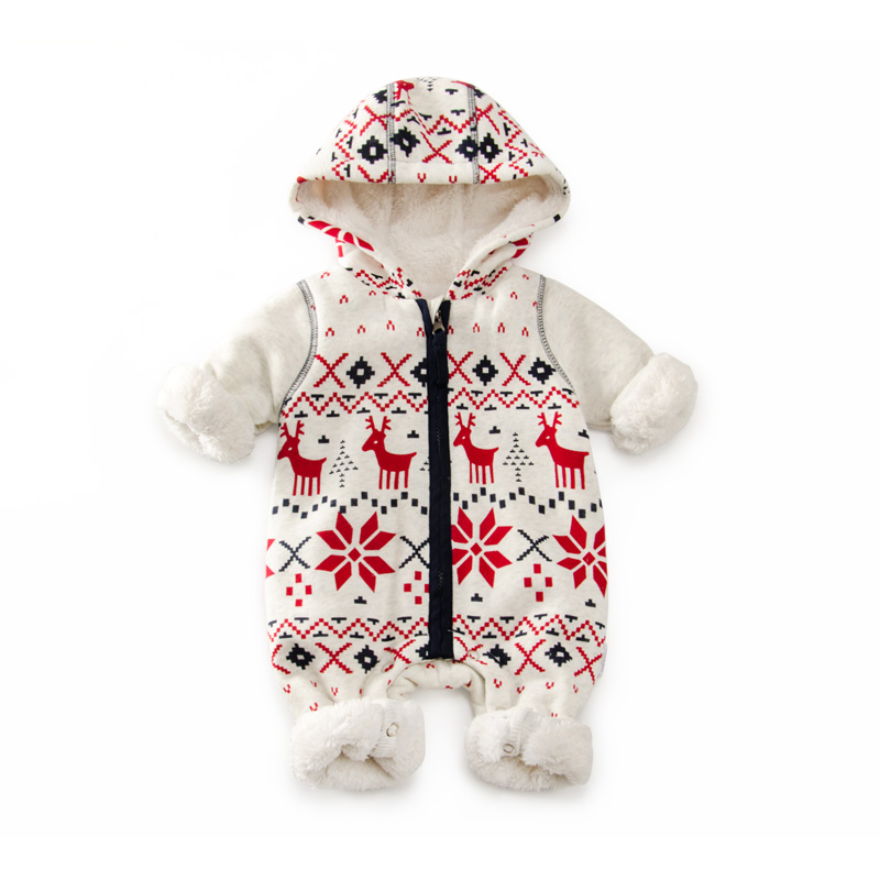 Winter Warm Fleece Baby Rompers hooded 6-24M Snow Pattern Baby Boy Girl Clothes Zipper Design Outwear Newborn Baby jumpsuit 2017 new baby rompers winter thick warm baby girl boy clothing long sleeve hooded jumpsuit kids newborn outwear for 1 3t
