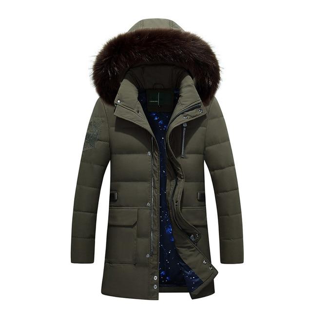 Invierno de la Chaqueta de Los Hombres Pato Abajo Larga Chaquetas Keep Warm Coat Casual hombres Espesar Abajo Abrigo con Capucha de Piel Chaquetas Parka