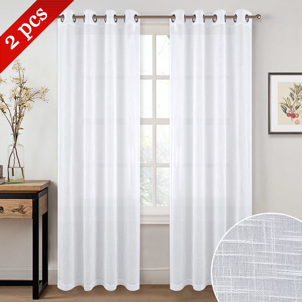 1 Pair 2018 New Arrival Summer Modern Voile White Tulle Panels / Drapes with Grommet Top Curtains Sheers For Home Living