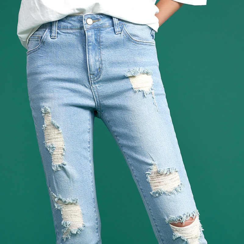 Toyouth Skinny Jeans kobiety zgrywanie długie spodnie 2018 wiosna moda otwór szczelne Lady spodnie jeansowe