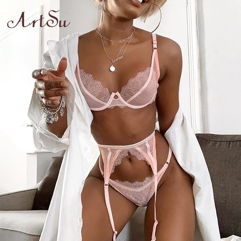 ArtSu Straps Pink Lace Bra And Panty Set Sexy Skinny Intimates Lingerie Set Women Bralette Lace Brief Set Bathing ASSU60137