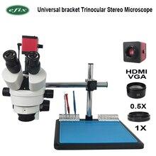 Efix 3.5 ~ 45X Zoom continu Microscope à souder stéréo trinoculaire 13MP HDMI VGA caméra 56 LED support universel réparation de téléphone