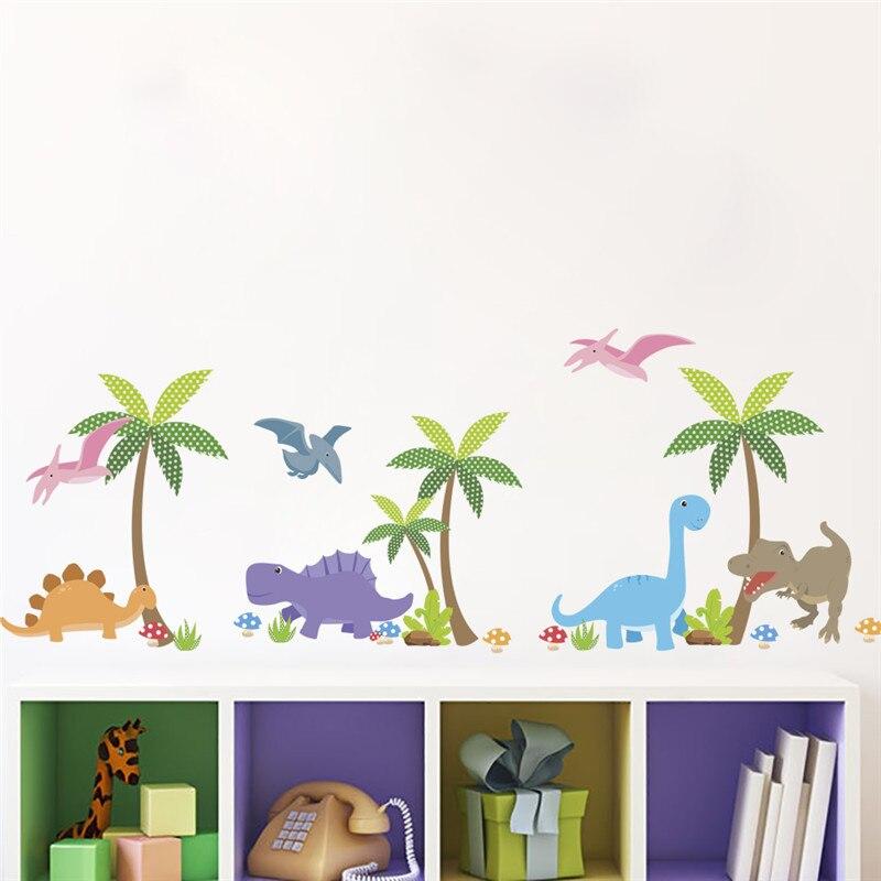 Dinosaur Coconut Tree wall stickers kids room Nursery Baby decoration pvc walls decal animals mural art