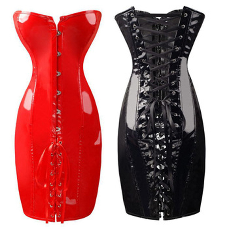 2018 Women Black Red PVC <font><b>Corset</b></font> Waist Trainer <font><b>Corsets</b></font> Lace-Up Ribbon Steampunk <font><b>Corset</b></font> <font><b>Sexy</b></font> Espartilhos E Corpetes Plus Size <font><b>XXXL</b></font> image