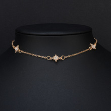 new crystal  fashion street shooting metal pentagonal star exquisite popular womens necklace