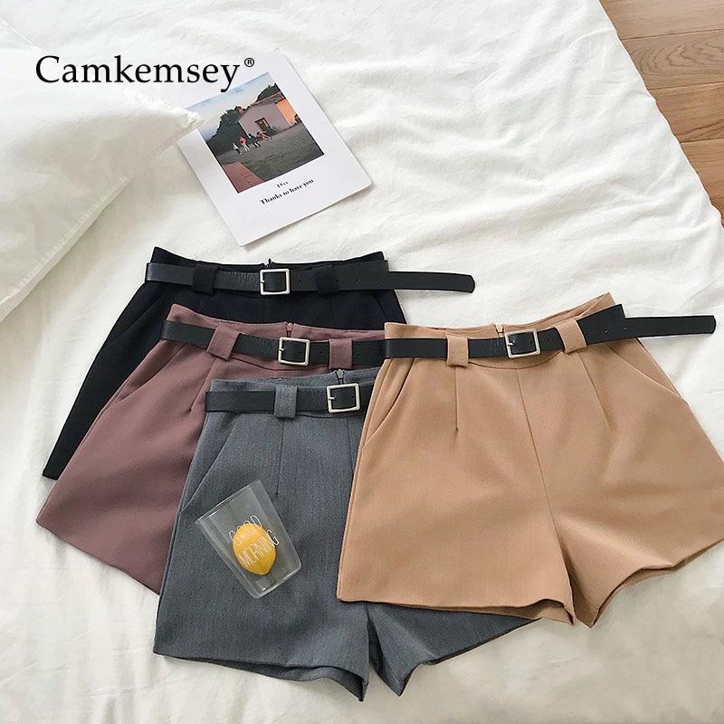 CamKemsey Fashion Solid Wide Leg Summer   Shorts   Women 2019 Korean Brief Lady Work Office Casual Sashes High Waist Suit   Shorts