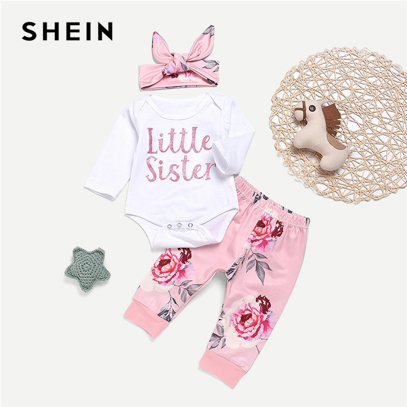 SHEIN Kiddie Toddler Girls Letter Print Jumpsuit And Floral Print Pants And Headband Long Sleeve Casual Suit For Girl Sets