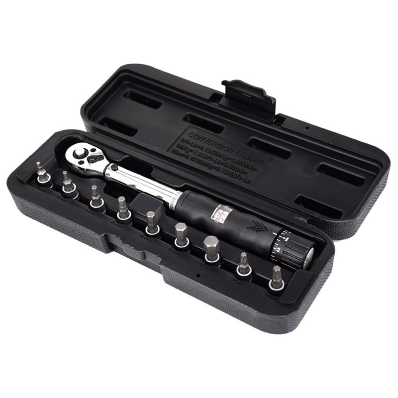 1/4 pouces Dr 2-14Nm vélo clé dynamométrique ensemble vélo réparation outils Kit cliquet mécanique clé dynamométrique clés manuelles