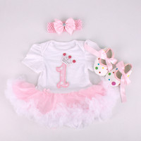 Christmas Gift Baby Girls Boys Short Sleeve Lace Jumpers Bow Headband Shoes Set Fashion Infant Newborn