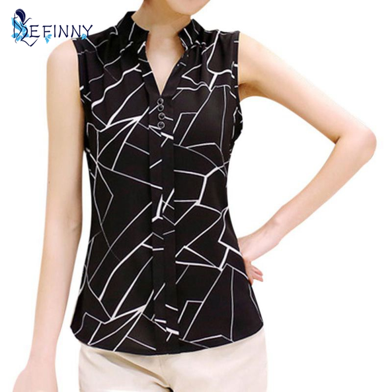 EFINNY New Summer Women Tops Casual Sleeveless V-Neck Fashion Women   Blouse     Shirt   Chiffon Print   Blouses   Ladies Blusas M-XXL White