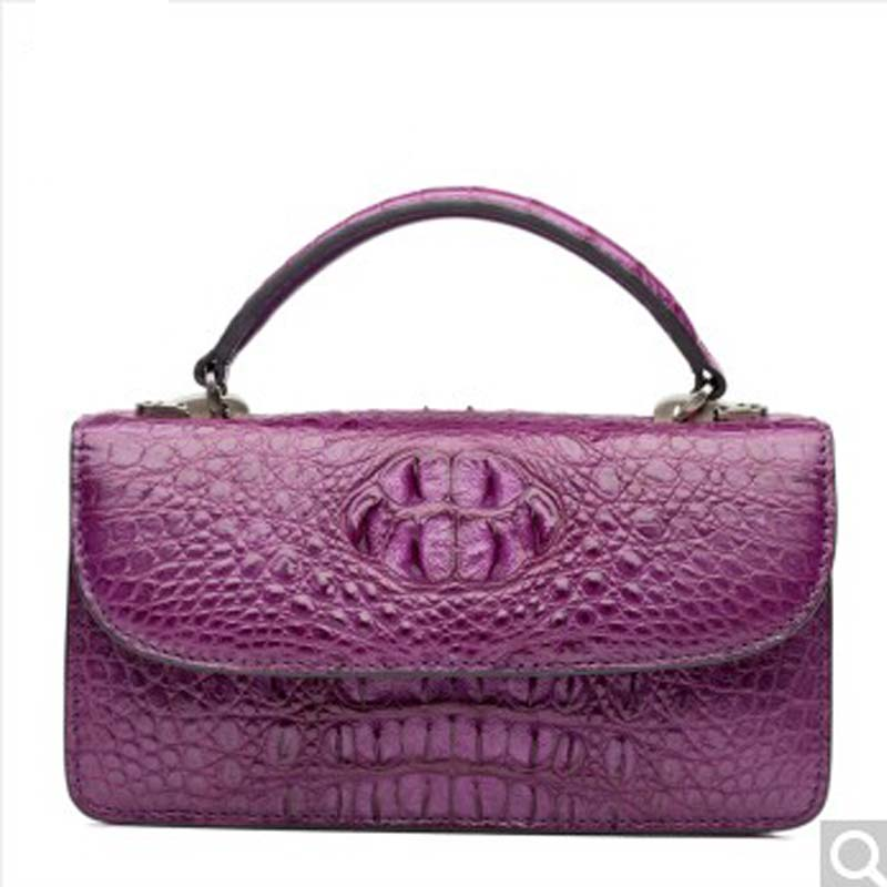 2018 Bev New Alligator leather handbag european fashion trend leather female pack shoulder oblique cross pouch purple