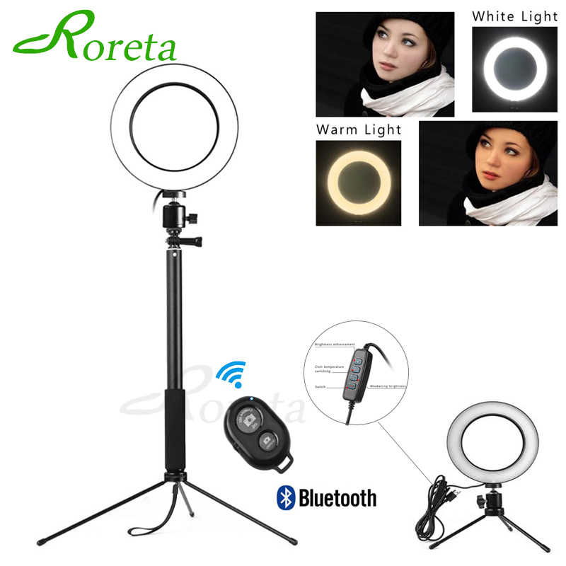 Roreta Plugue USB LED Anel de Luz Handheld Selfie Remoto Bluetooth Selfie Vara Tripé Photo Studio box Fotografia Luz de Vídeo Ao Vivo