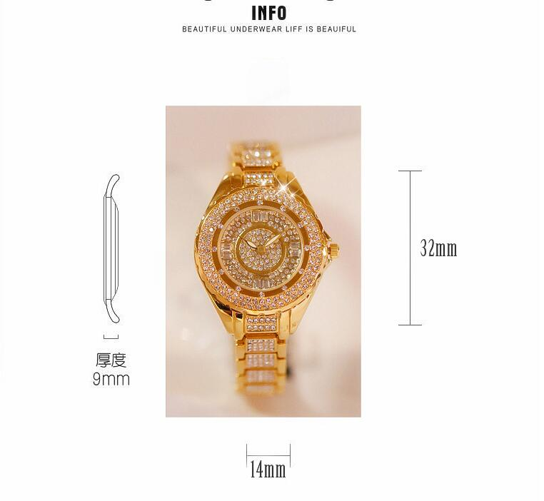2019 Hot Sale Women Watches Lady Diamond Stone Dress Watch Gold Silver Stainless Steel Rhineston Wristwatch Female Crystal Watch 2