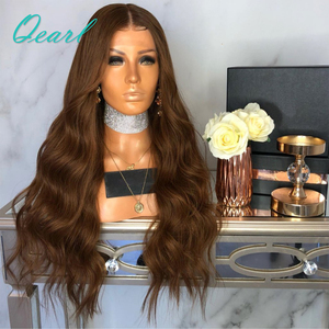 Image 2 - Brown Body Wave Human Hair Full Lace Wigs 180% Brazilian Remy Hair Pre Plucked Middle Part Wavy Wig With Baby Hair Qearl