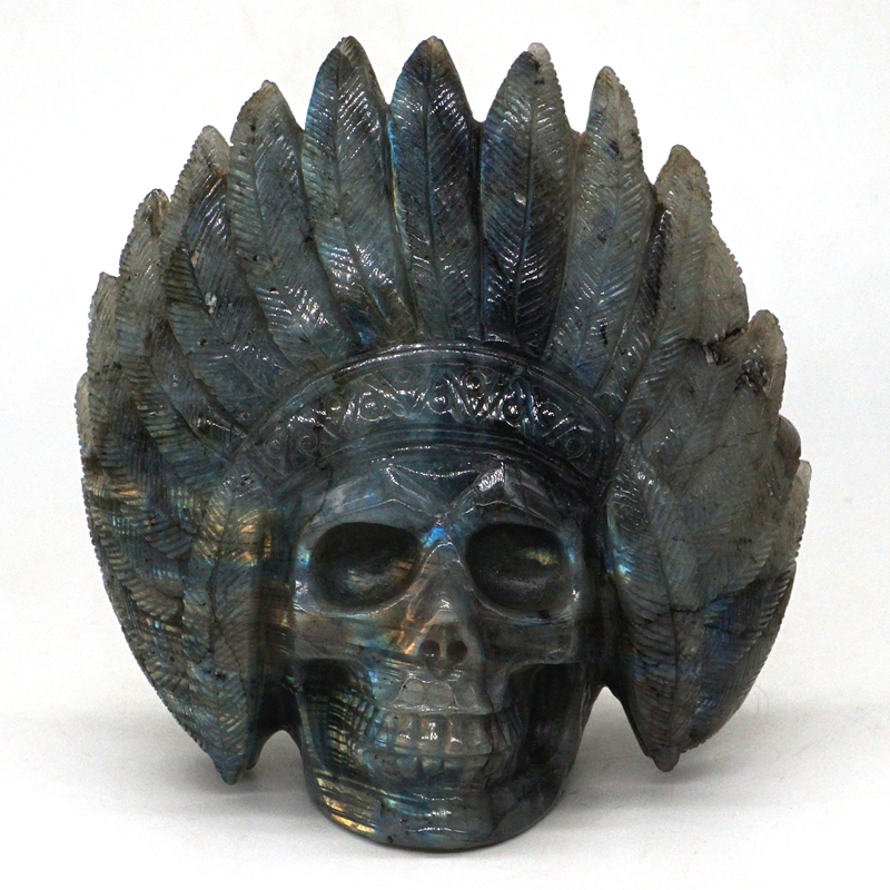 """4.5"""" Natural Labradorite Crystal Carved Stone Indians Skull Statue Home Decor"""