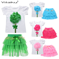 New Girls Clothes 2017 Princess Girl Clothing Set T-shirts+Layered Tutu Skirt 2 Pcs Clothing Sets for Girls Skirt Suits CF450