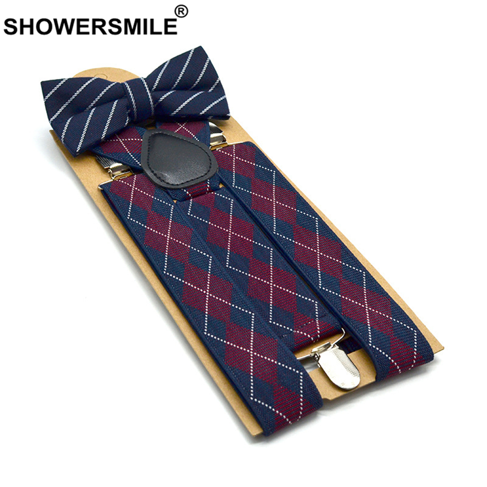 SHOWERSMILE Bow Tie Suspenders Men Plaid Mens Suspenders Braces For Trousers British Vintage Women Shirt Suspender Pants 3.5cm