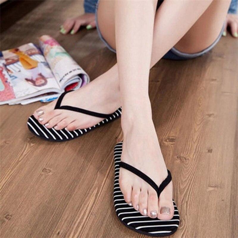 1 paar Schwarz Streifen Frauen Flache Hausschuhe Sommer Strand Hausschuhe Massage Hausschuhe Mode Freizeitschuhe Frau Zapatos Mujer Schwarz