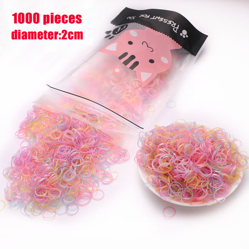 1000pcs/bag Girls Elastics Hair Bands Child Baby Hair Accessories Gum For Hair TPU Disposable Kids Ponytail Holder Rubber Band