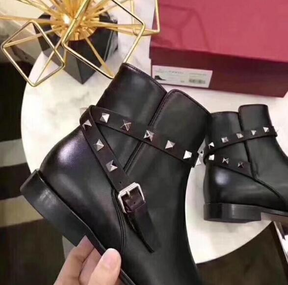 Follwwith Marca Mujer Pic Pic as Pisos Gamuza 2019 Tobillo Remaches Diseño De As Cuero Caliente Espárragos Zapatillas Hebillas Zapatos Botas vtwxBqI