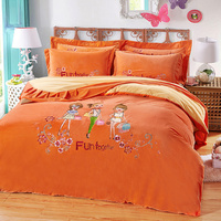 Orange Pure Color Fashionable Three Girls Cartoon Pattern 4 Pcs Queen Size Bedding Set Quilt Cover