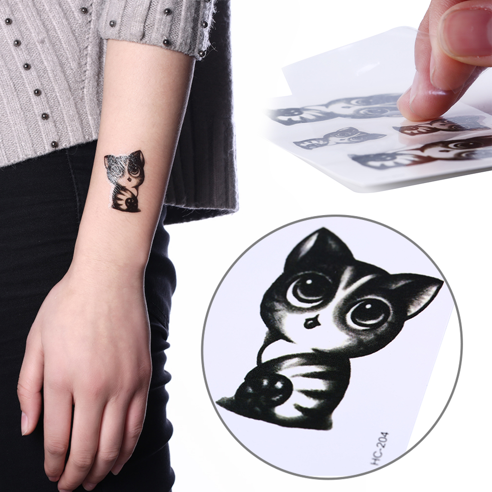 1 Sheet Girl Women Breast Cute Cat Tatto Stickers Waterproof Temporary Tattoo Sticker Flash Tatoo Fake Tattoos