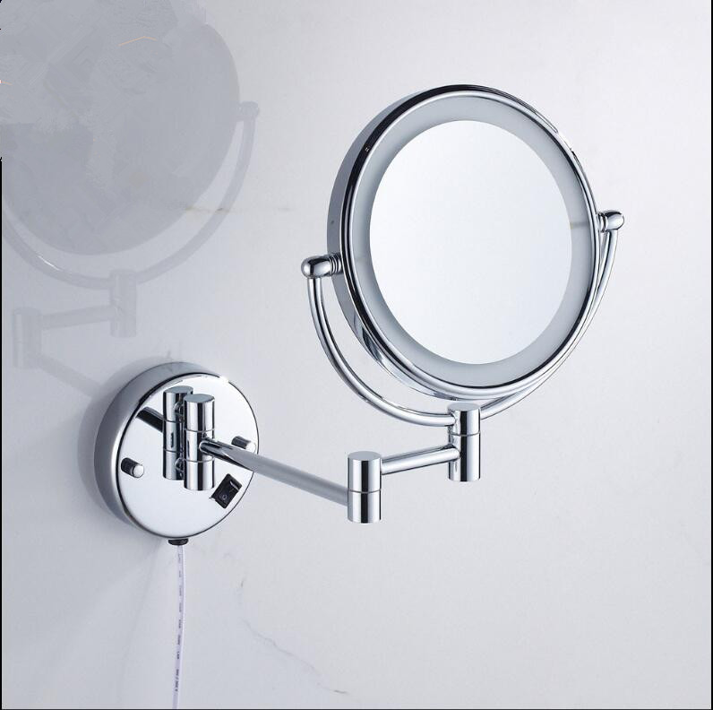 Bathroom Mirror Wall Mounted 8 inch Brass 3X/1X Magnifying Mirror LED Light Folding Makeup Mirror Cosmetic Mirror Lady Gift professional 8 inch led light wall mounted folding cosmetic mirror 5x magnifying led makeup mirror bathroom mirror for gift