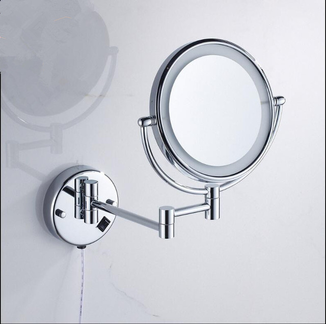 Bathroom Mirror Wall Mounted 8 Inch Brass 3x 1x Magnifying Mirror Led Light Folding Makeup