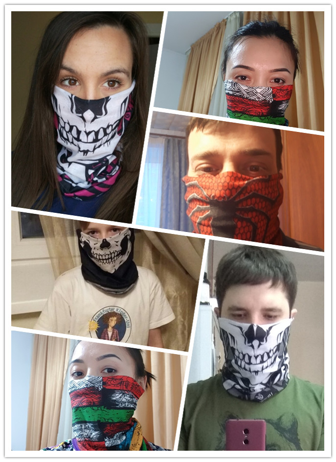 Camouflage Scarf Tactical Mask Harley Bandana Motorcycle Skull Paintball Mask Running Face Shield Magic Tube Kerchief