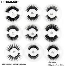 LEHUAMAO 100Pairs 3D Silk Protein Mink Lashes faux mink eyelashes Natural long Full stripe False Eyelash Extension Free DHL