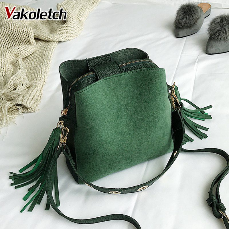 High Quality Retro Shoulder Bag Simple Crossbody Bag Tote 2018 Fashion Scrub Women Bucket Bag Vintage Tassel Messenger Bag KL229 retro tiny bell tassel anklet for women