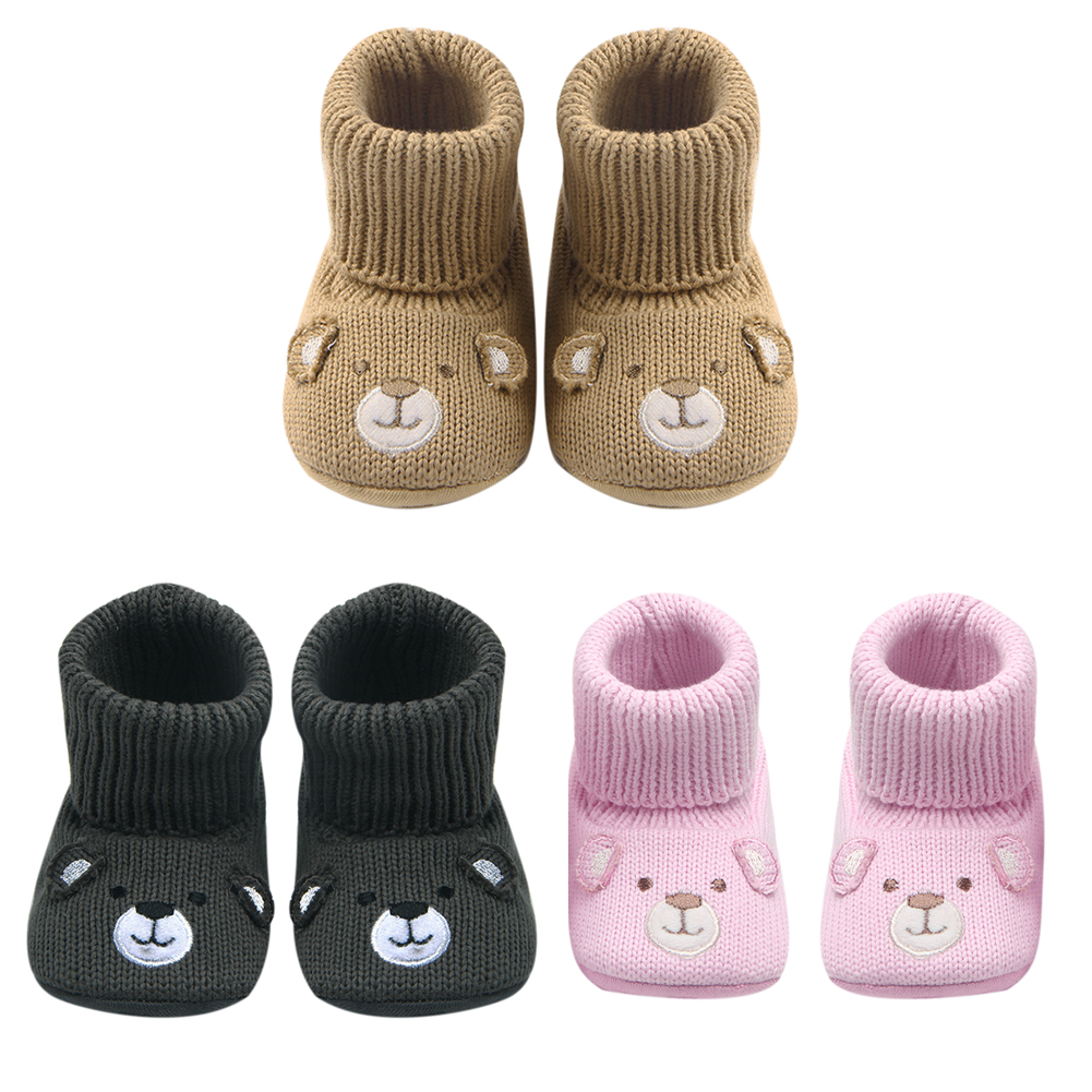 Winter Baby Snow Boots Crochet Knitted Warm Shoes Toddler Boy Girl Cartoon Non slip Shoes First Walker Baby Soled Socks Sneakers