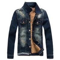 2015 Spring Mens Long Sleeve Denim Jacket Fashion Jeans Jackets Men Slim Vintage American Flag Clothes