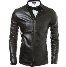 Black brown 2016 spring brief motorcycle leather jacket men leather clothing short coats fashion slim stand collar M – 2XL