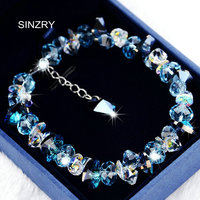 SINZRY pure handmade Luxury 925 sterling silver Trendy brilliant heart crystal charm bracelets & bangle Girl jewellery