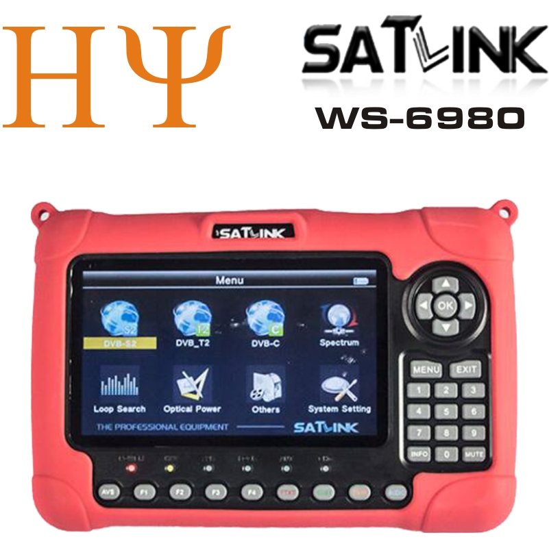 1pc Original Genuine SATLINK WS-6980 DVB-S2+DVB-C+DVB-T2 COMBO Optical power detection Spectrum analyzer satellite finder meter 7 inch hd lcd screen satlink ws 6980 dvb s2 dvb t t2 dvb c combo satlink 6980 digital satellite meter finder spectrum analyzer