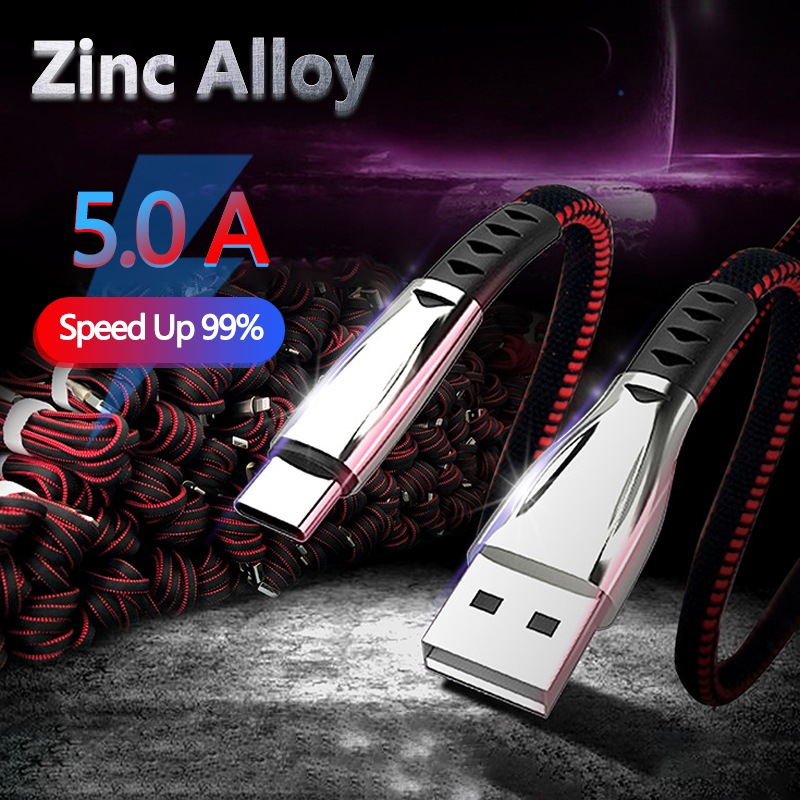 5A Alloy Usb Cable for Iphone Xs Max Xr X 8 7 Super Fast Charging UsbType C Cables for Samsung Mobile Phone Mirco Usb Cable