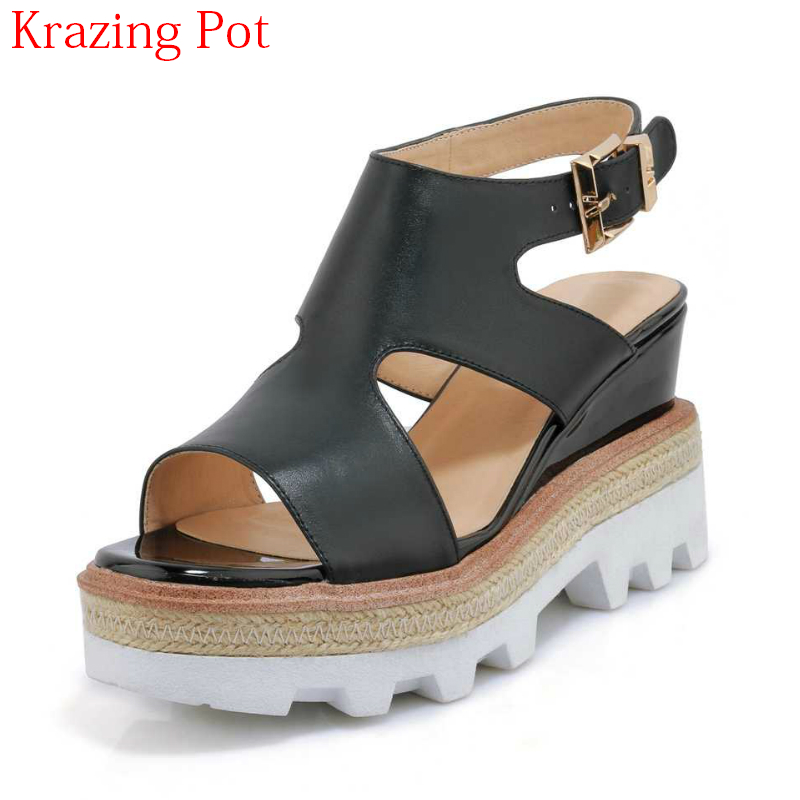 2018 New Arrival Cow Leather Roman Style Ankle Strap Summer Shoes Platform European Luxury Peep Toe Women Wedges Sandals L31 часы наручные royal london часы 41227 01