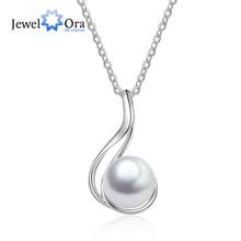 Fine Jewelry 925 Sterling Silver Pearl Pendant Necklace Geometric Style Chain Necklace Women Accessories (JewelOra NE103195) бра lumion 3687 1w
