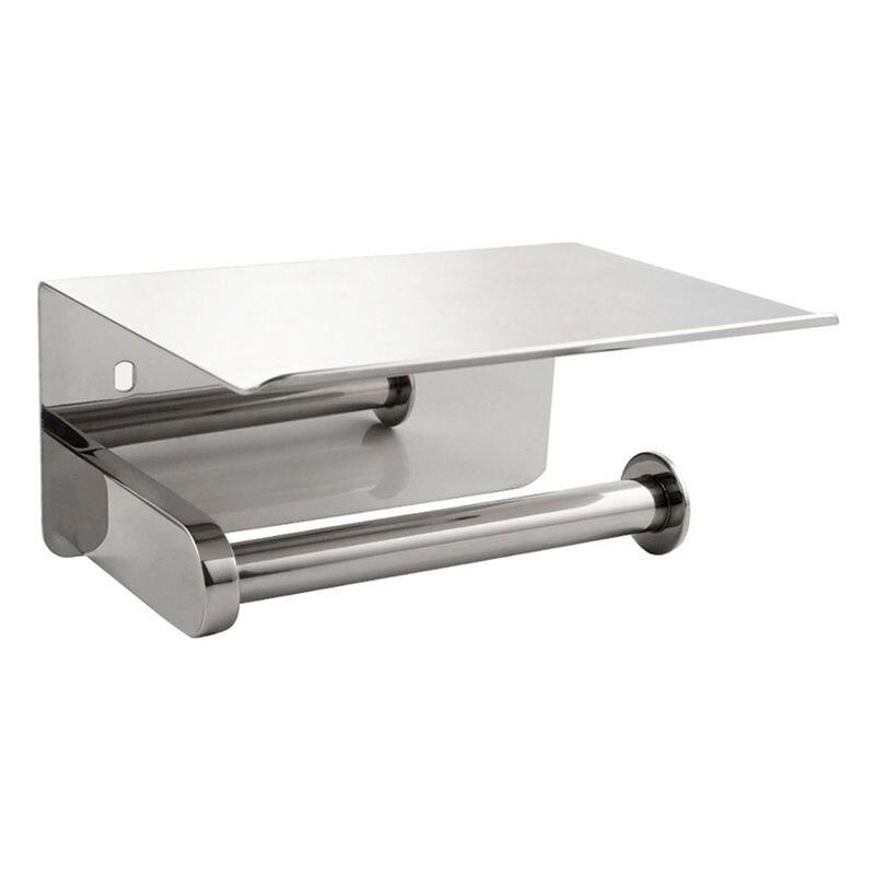 купить Toilet Paper Holder,304 stainless steel Bathroom Paper Tissue Holder with Mobile Phone Storage Shelf Rack по цене 888.05 рублей