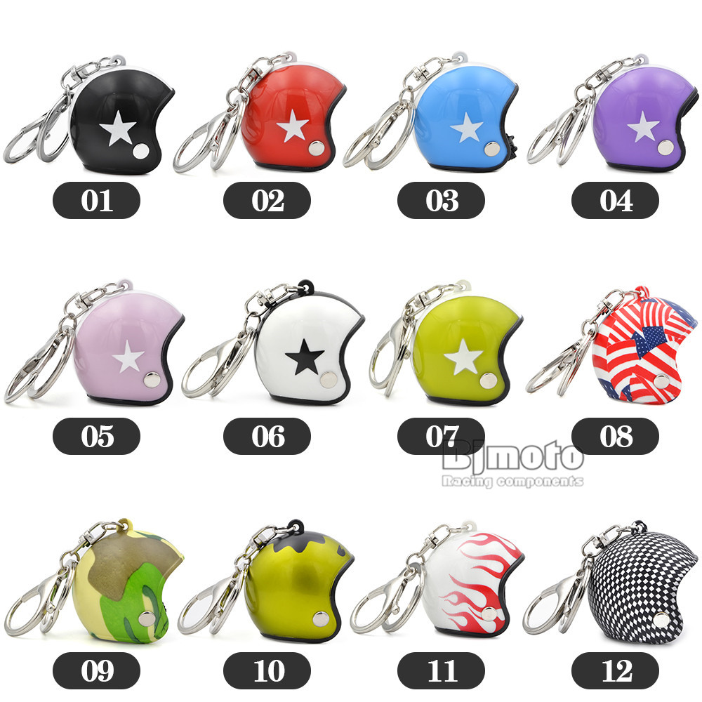 Cool Car Motorcycle Helmet Keychain Key Chains Mini Motorcycle Pendant Keyring Men Women Motorbike Accessories KC-A010 (2)