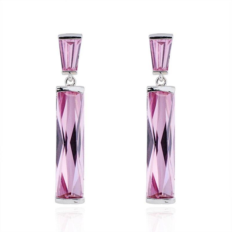 Серебряные серьги brinco brincos, серьги с розовым камнем, женские серьги для помолвки, подарок 2018, новые модные ювелирные изделия Ear0034|dangle earrings|fashion dangle earringsbrincos pink | АлиЭкспресс