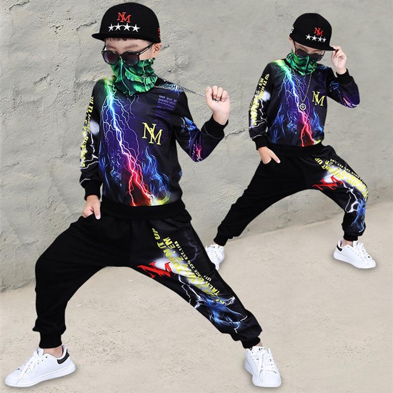 7cb7a7fe9 Comprar Conjuntos de ropa para niños grandes Lightning primavera otoño bebé  niño Hip hop conjuntos ropa deportiva niños ropa traje 2 piezas ropa piezas  para ...