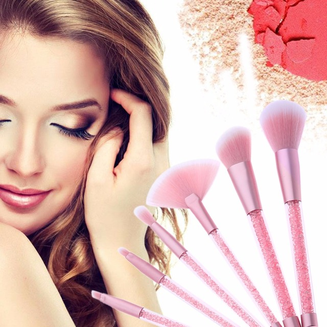 7pcs Rhinestone Glitter Crystal Makeup Brush Set Diamond Pro Highlighter Brushes Concealer Make Up Brush Cosmetic Gift