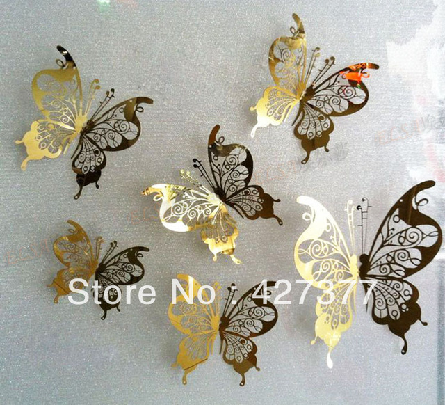 Creative Silver Metal Butterfly Wall Stickers Wardrobe Decor,Stainless  Steel Butterfly Bedroom